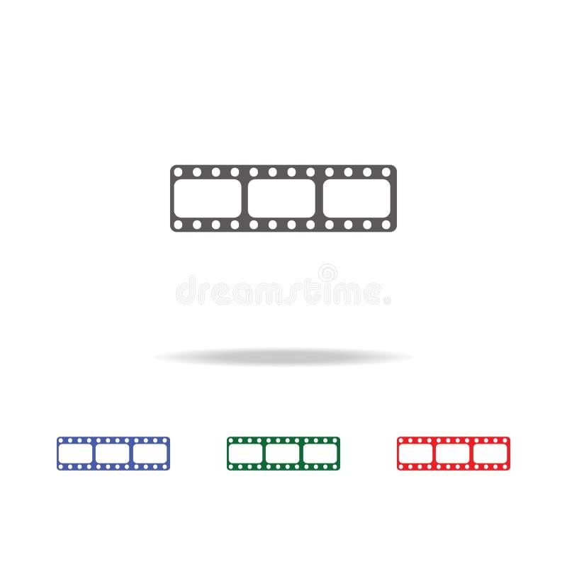 Ekranowej rolki ikona Elementy fotografii kamera w wielo- barwionych ikonach Premii ilości graficznego projekta ikona Prosta ikon royalty ilustracja
