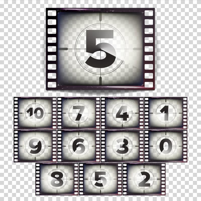 Ekranowy odliczanie Liczy 10, (0) wektorów - Monochromatyczny Brown Grunge filmu pasek Początek Stary film Odizolowywający na prz ilustracji