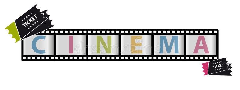 Ekranowy pasek I bilety Wektorowa ilustracja - Odizolowywająca Na Białym tle - kino, film ikony - ilustracji