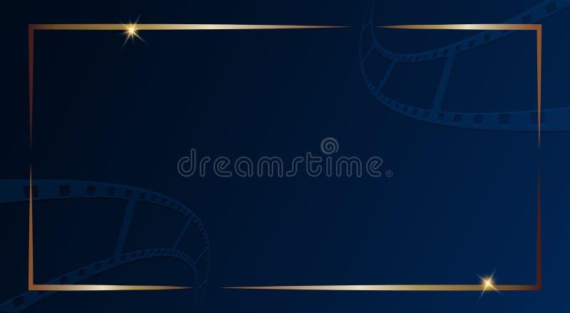 Ekranowy pasek odizolowywający na zmroku - błękitny tło z złoto ramą Projektuje szablonu festiwalu kinowego sztandar, broszurka,  royalty ilustracja