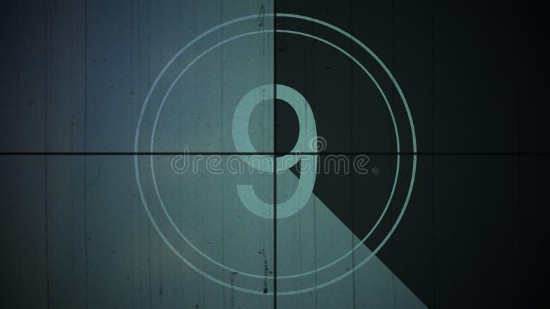 Ekranowy rocznika odliczanie liczby 9 dziewięć tło ilustracji