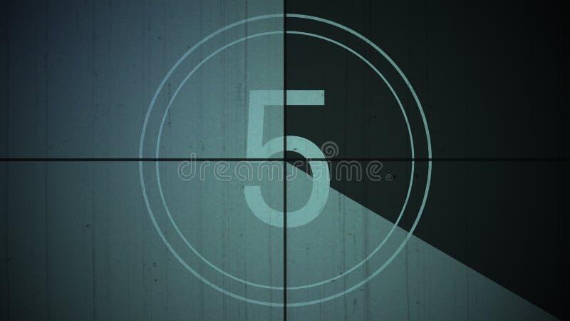 Ekranowy rocznika odliczanie liczby 5 tło fotografia stock