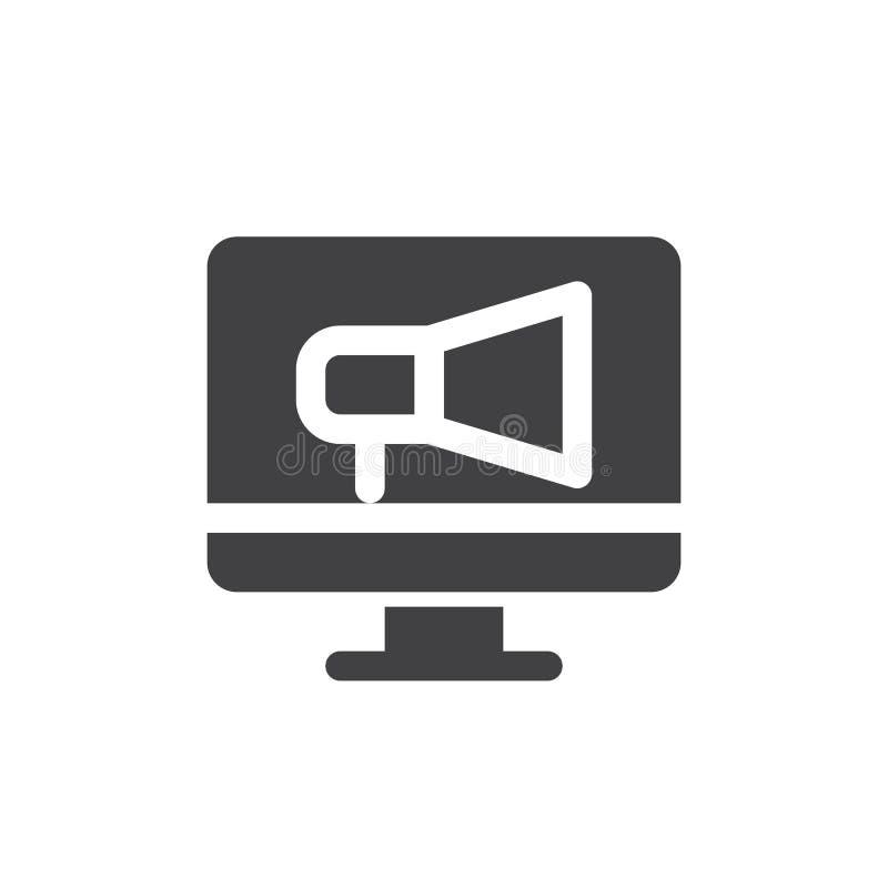 Ekranu i megafonu ikony wektor, wypełniający mieszkanie znak, stały piktogram odizolowywający na bielu ilustracja wektor