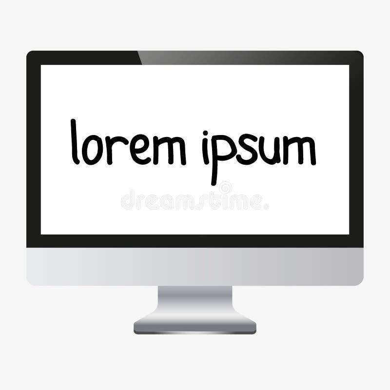 Ekranu komputerowego pokaz odizolowywający na białym tle ilustracji