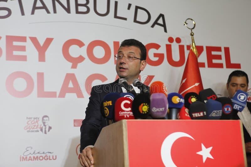 Ekrem Imamoglu gana la elección de la alcaldía de Estambul por la segunda vez imagen de archivo libre de regalías