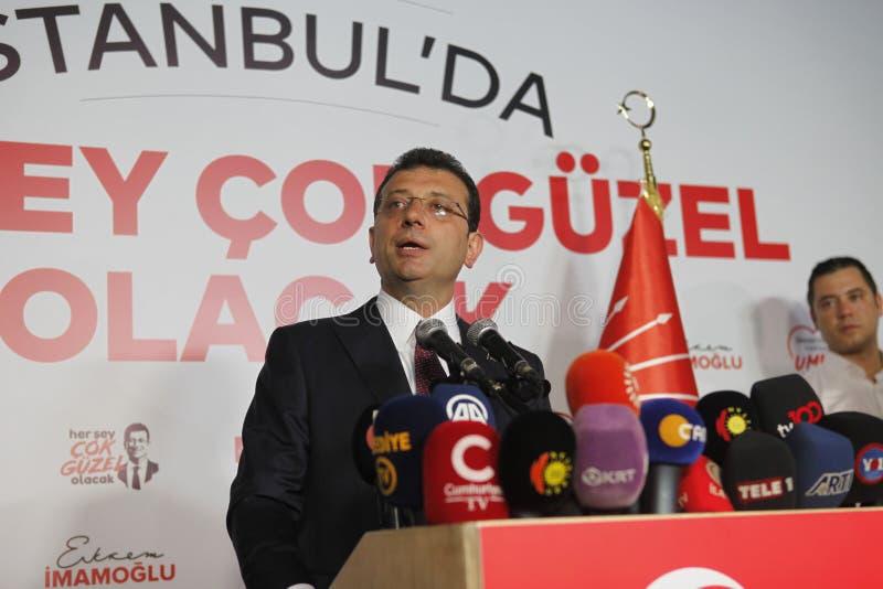 Ekrem Imamoglu gana la elección de la alcaldía de Estambul por la segunda vez imágenes de archivo libres de regalías