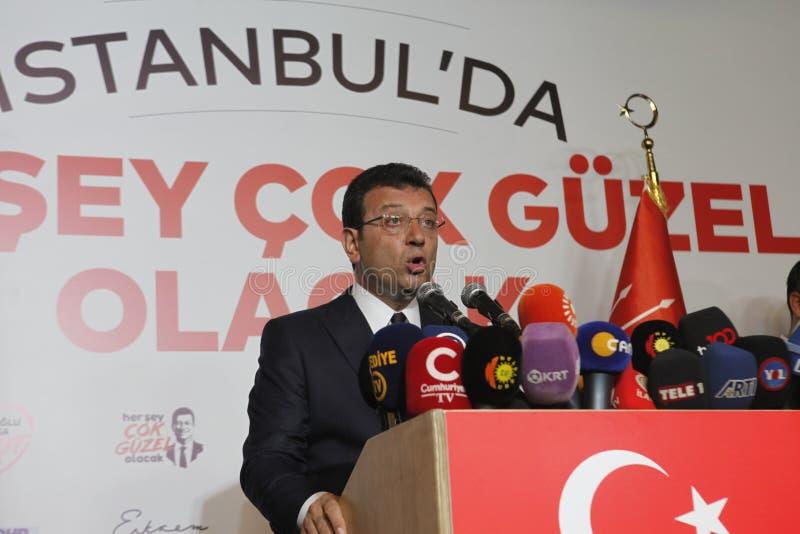 Ekrem Imamoglu gana la elección de la alcaldía de Estambul por la segunda vez fotografía de archivo libre de regalías
