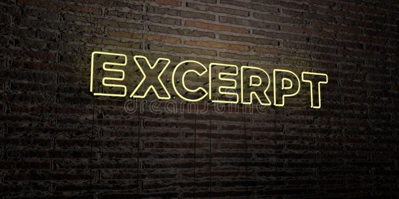 EKSCERPCJA - Realistyczny Neonowy znak na ściana z cegieł tle - 3D odpłacający się królewskość bezpłatny akcyjny wizerunek royalty ilustracja