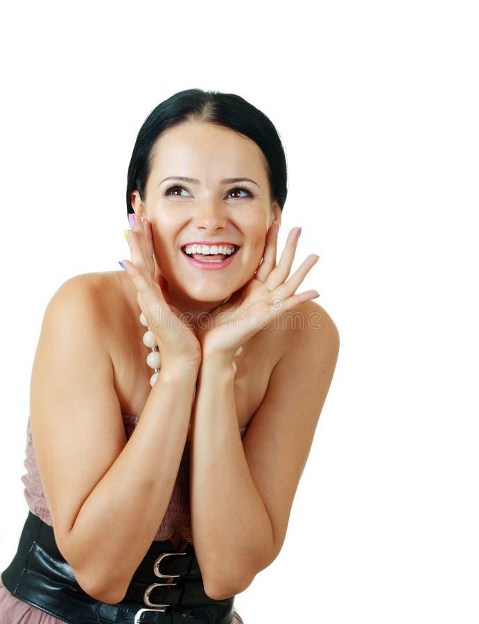 Ekscytująca szczęśliwa piękna brunetka fotografia royalty free