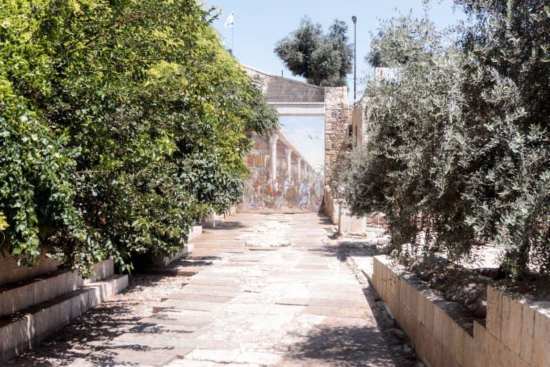 Ekskawacje antyczna ulica blisko Gnojowych bram w Starym mieście Jerozolima, Izrael obrazy stock