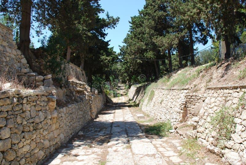 Ekskawacje antyczny miasto Heraklion, Crete obrazy stock