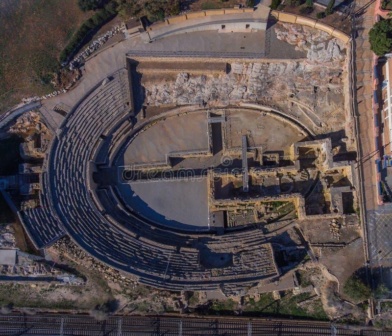 Ekskawacje ruiny Romański amfiteatr obraz stock