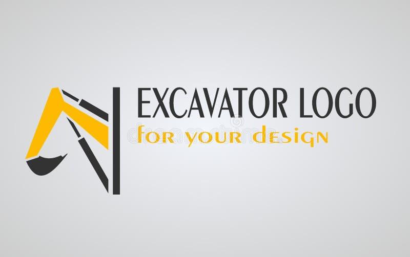 Ekskawatoru loga projekt okrąg z ekskawator ikonami, royalty ilustracja