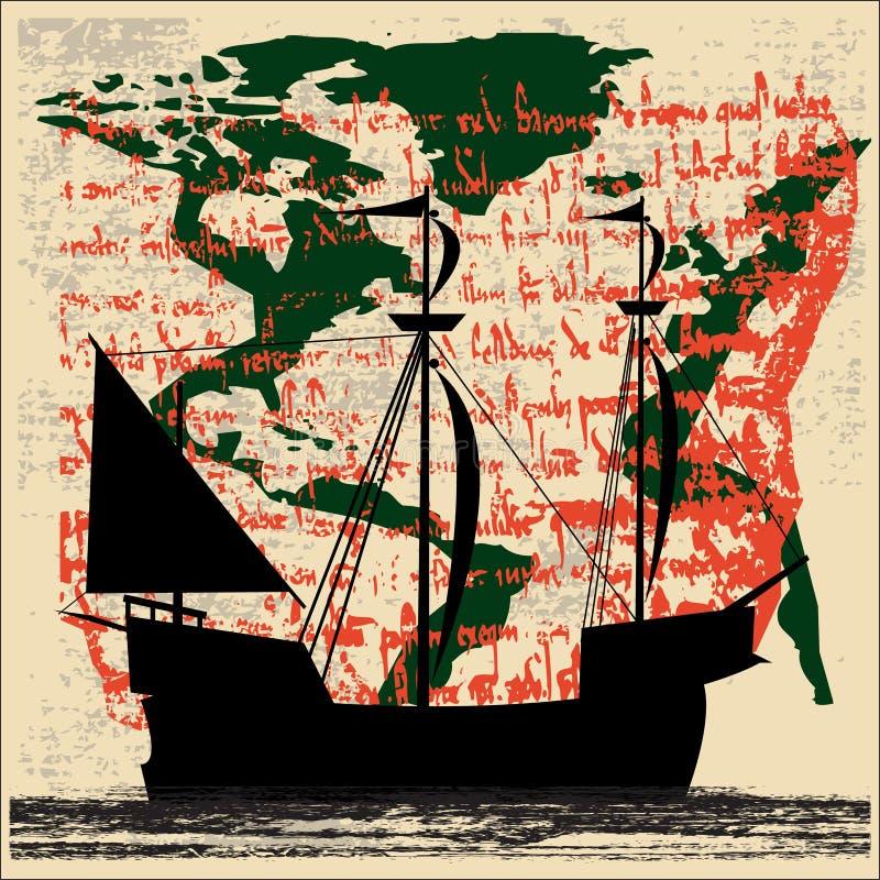eksploraci żeglowania statek ilustracji