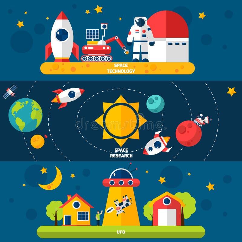 Eksploraci Przestrzeni Kosmicznej 3 Płascy sztandary ustawiający ilustracji