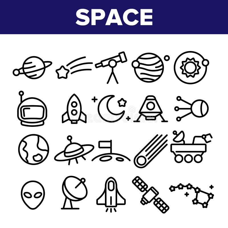 Eksploracja Przestrzeni Kosmicznej wektoru Cienkie Kreskowe ikony Ustawiać royalty ilustracja