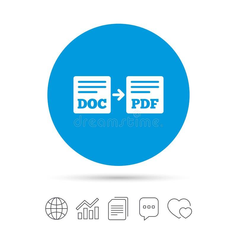 Eksportowy DOC PDF ikona Kartoteka dokumentu symbol ilustracji