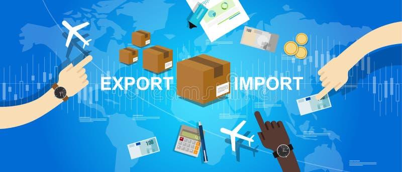 Eksportowy importowy globalny handlowy światowej mapy rynku zawody międzynarodowi ilustracji