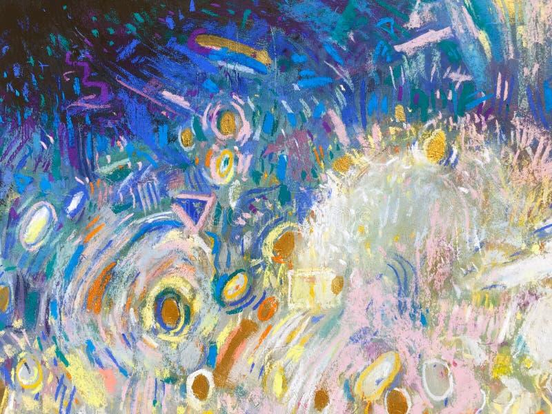Ekspresjonizmu nieba Złocisty tło Modna obraz tekstura royalty ilustracja