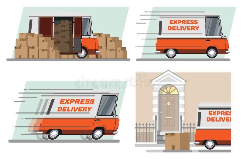 Ekspresowa dostawa samochodem ilustracji