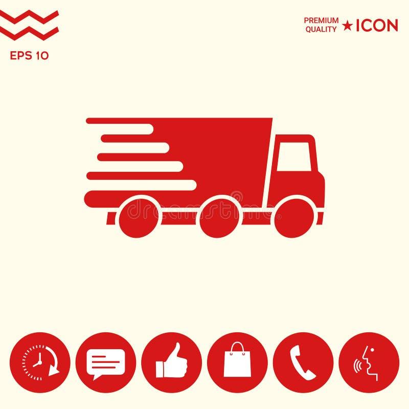 Ekspresowej dostawy ikona Doręczeniowy samochód ilustracji