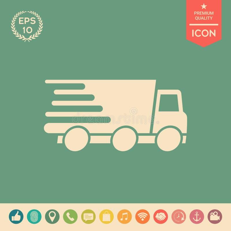 Ekspresowej dostawy ikona Doręczeniowy samochód ilustracja wektor