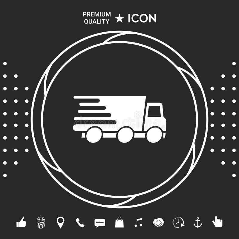 Ekspresowej dostawy ikona Doręczeniowy samochód royalty ilustracja