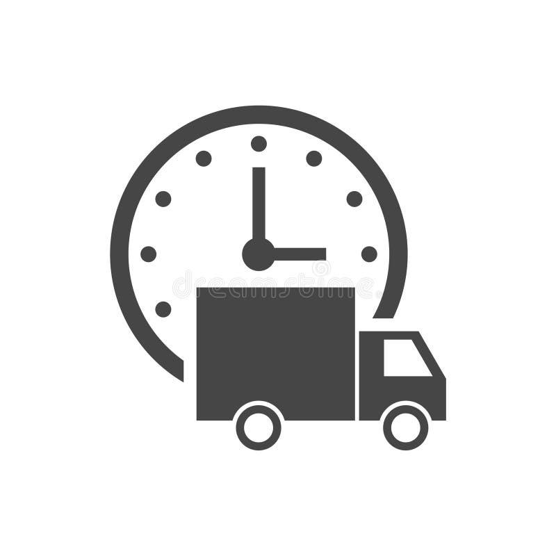 Ekspresowej dostawy ikona, Doręczeniowy samochód z zegarkiem ilustracji