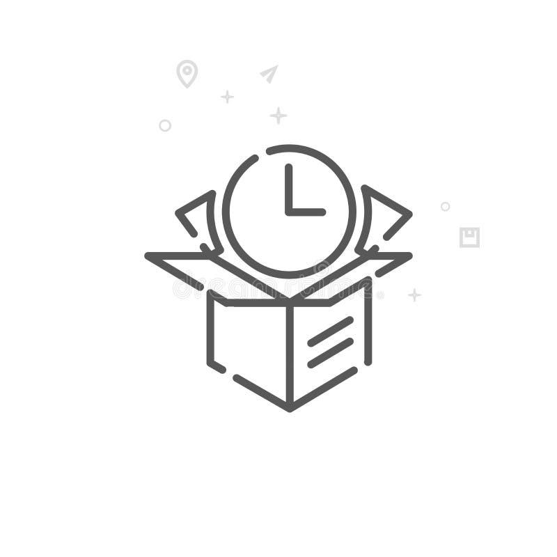 Ekspresowej dostawy wektoru linii ikona, symbol, piktogram, znak Lekki abstrakcjonistyczny geometryczny tło Editable uderzenie ilustracji
