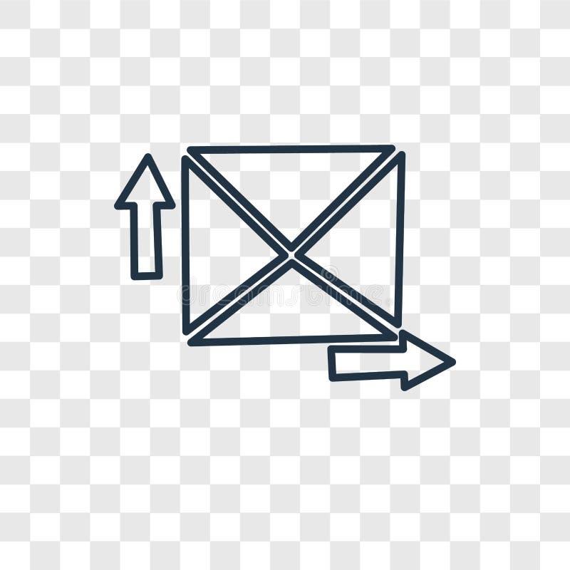 Ekspresowej poczty pojęcia wektorowa liniowa ikona odizolowywająca na przejrzystym ilustracja wektor