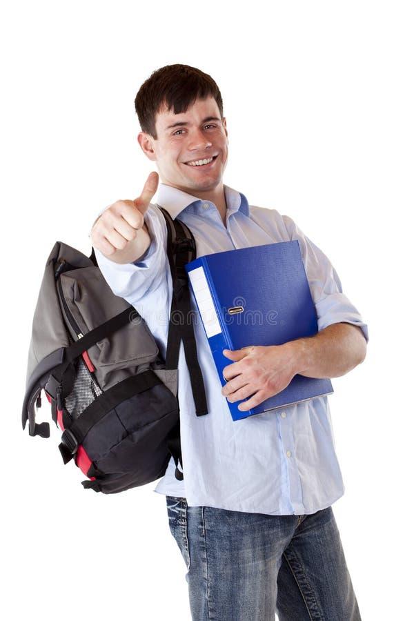 ekspresowi szczęśliwi męskiego ucznia successs walą męski obrazy stock