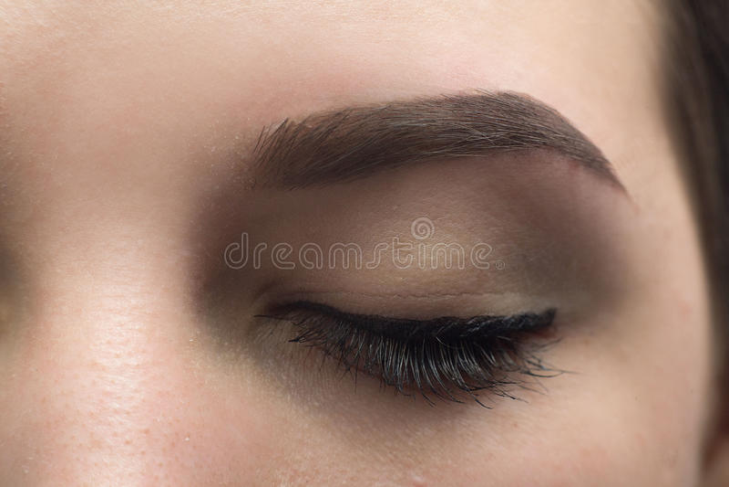 Ekspresyjnego znaczącego oka perfect kształt brew zdjęcie royalty free