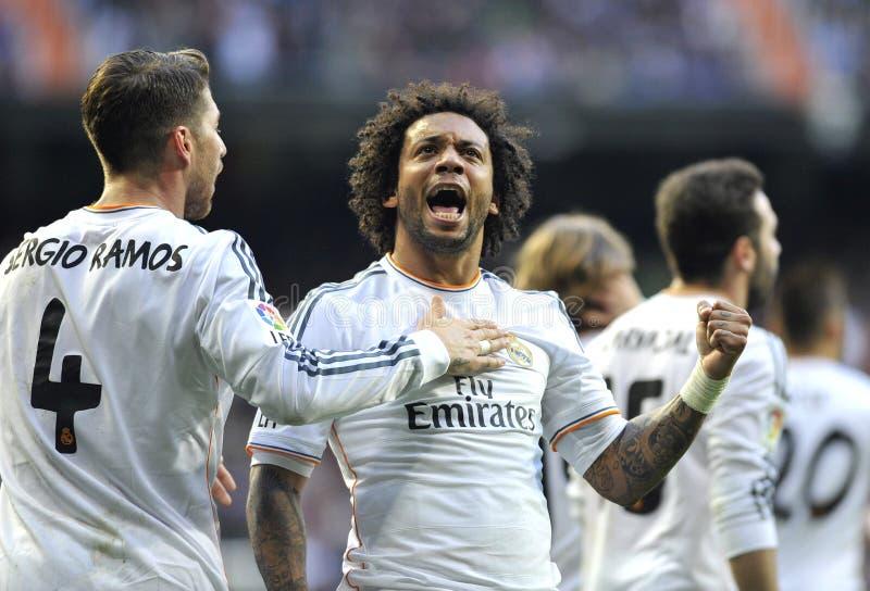 Ekspresyjny Marcelo Vieira Real Madrid świętuje z Sergio Ramos osiągania goa zdjęcia royalty free
