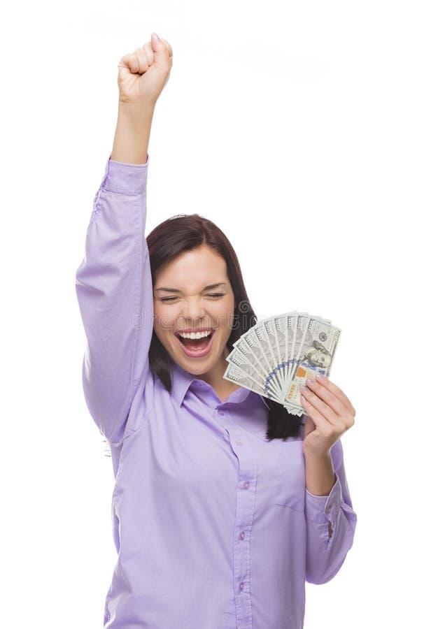 Ekstatische Mischrasse-Frau, die das Neue hundert Dollarscheine hält lizenzfreie stockbilder