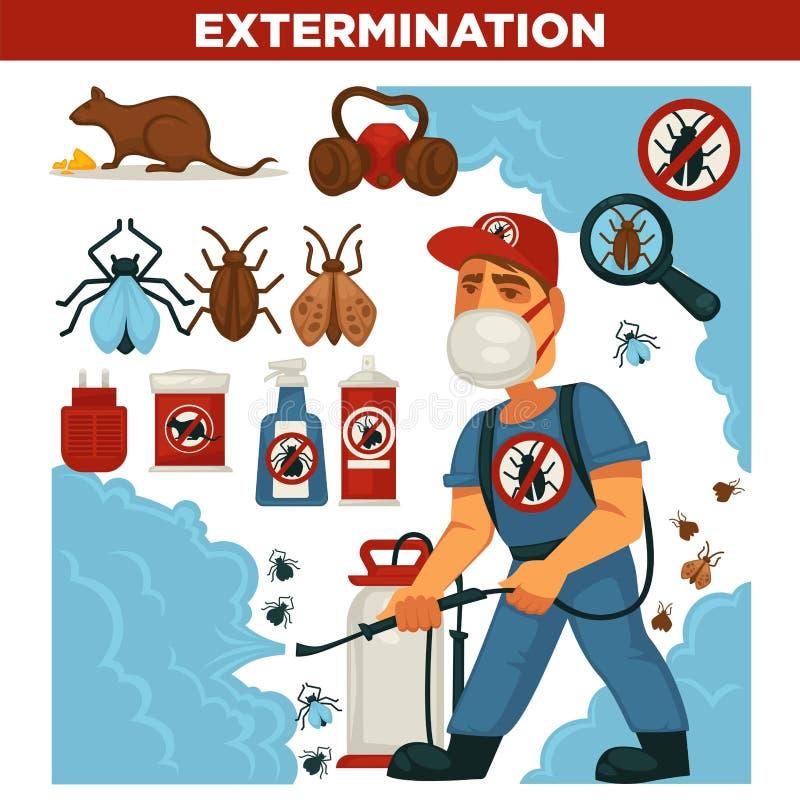 Eksterminaci lub zarazy kontrolnej usługa wektorowy płaski plakat ilustracji