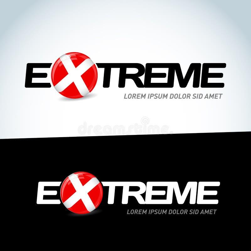 ekstremum Logo z słowa ekstremum button ręce s push odizolowana początku ilustracyjna kobieta royalty ilustracja