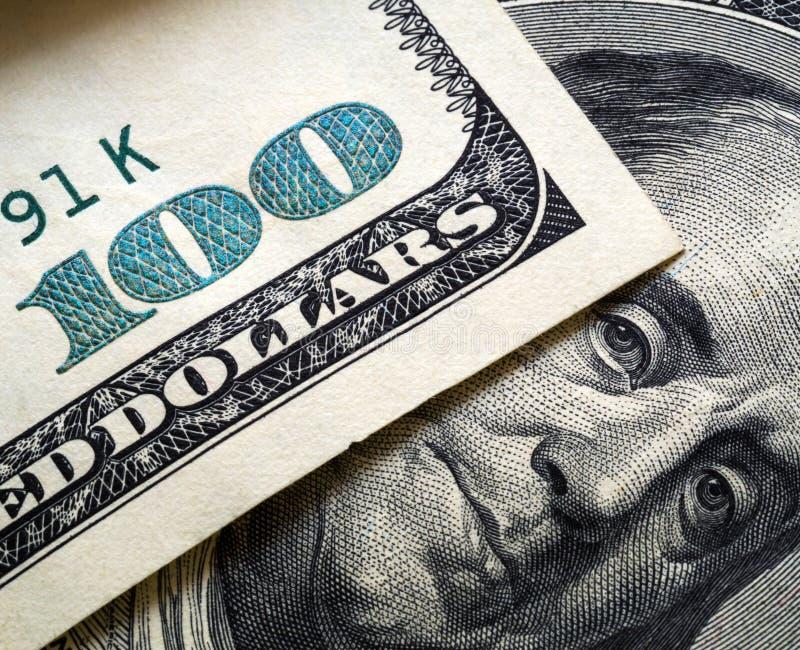 Ekstremum zamknięty w górę Franklin na sto dolarowych rachunkach zdjęcie stock