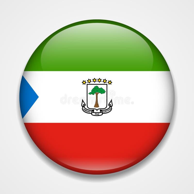 ekvators- flaggaguinea Runt glansigt emblem stock illustrationer