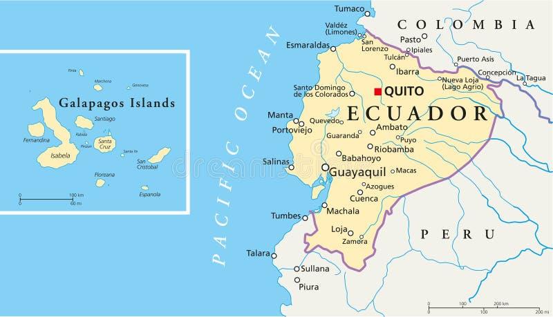 Ekwador i Galapagos wysp Polityczna mapa royalty ilustracja