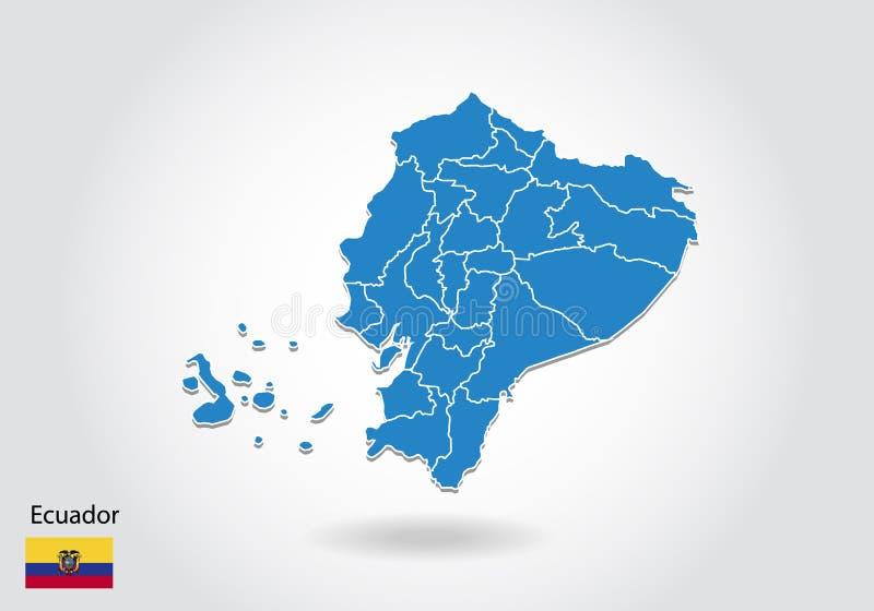 Ekwador mapy projekt z 3D stylem Błękitna Ecuador flaga państowowa i mapa Prosta wektorowa mapa z konturem, kształt, kontur, na b ilustracja wektor