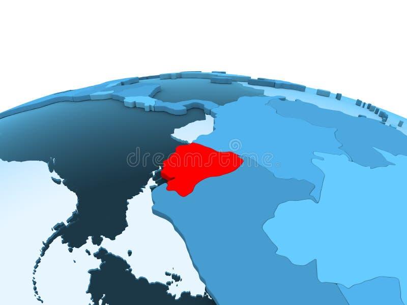 Ekwador na błękitnej politycznej kuli ziemskiej ilustracji
