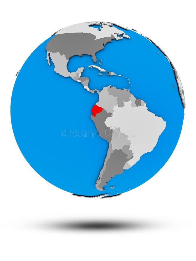Ekwador na politycznej kuli ziemskiej odizolowywającej ilustracja wektor