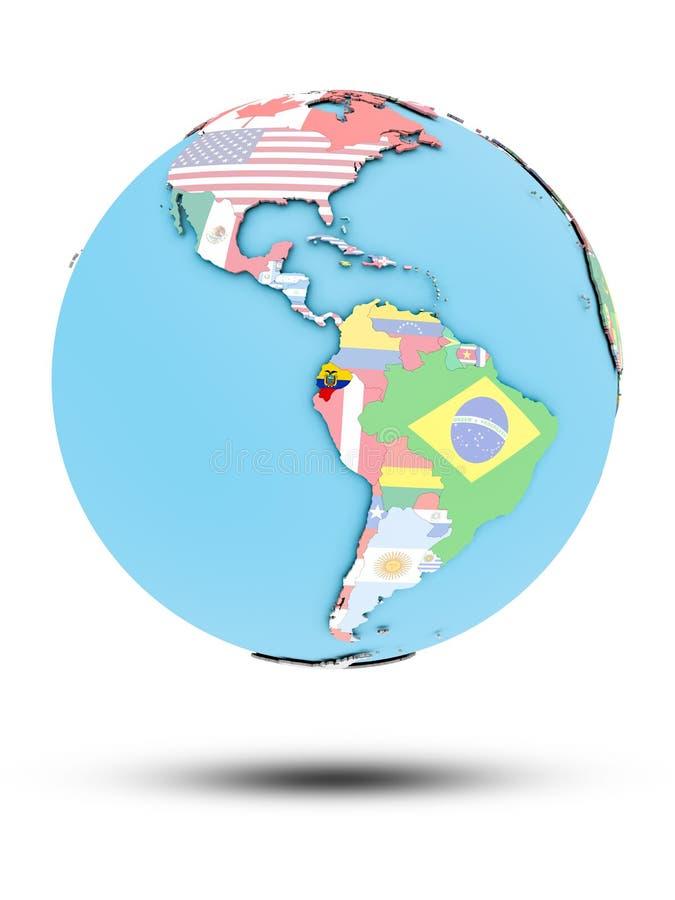 Ekwador na politycznej kuli ziemskiej z flaga ilustracja wektor