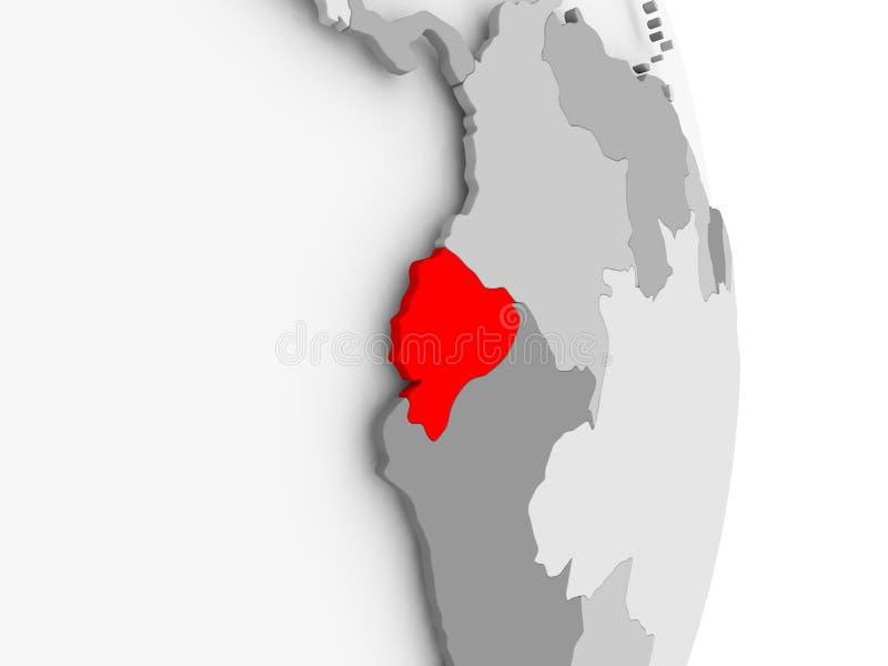 Ekwador na popielatej politycznej kuli ziemskiej ilustracja wektor