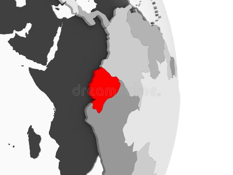Ekwador na popielatej politycznej kuli ziemskiej ilustracji