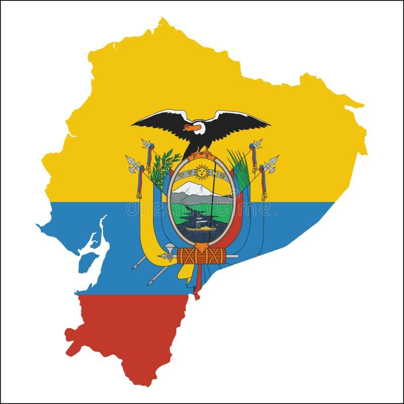 Ekwador wysoka rozdzielczość mapa z flaga państowowa ilustracji