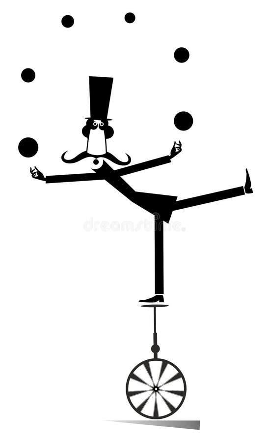 Ekwilibrysty wąsy mężczyzna na unicycle żongluje piłki ilustracyjne ilustracja wektor