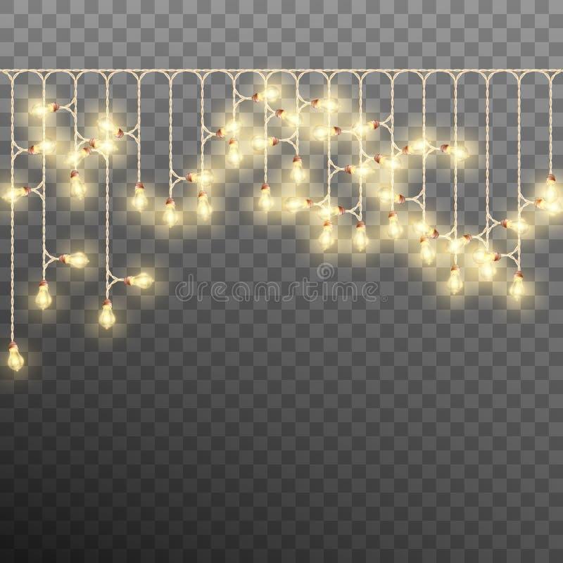 Eléctrico adorne la guirnalda del árbol de navidad Vector del EPS 10 stock de ilustración
