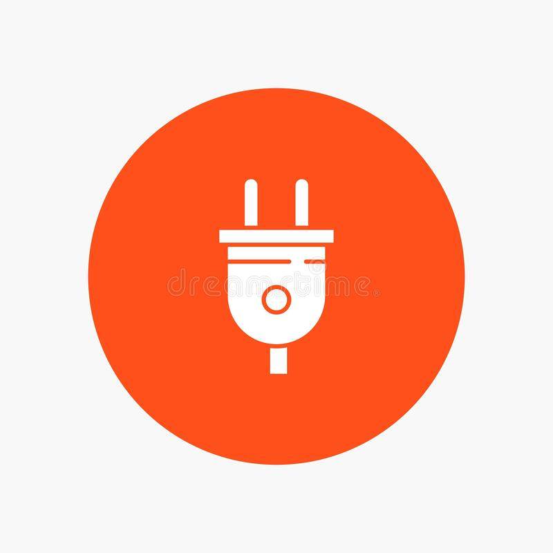 Eléctrico, enchufe, poder, icono blanco del glyph del enchufe ilustración del vector