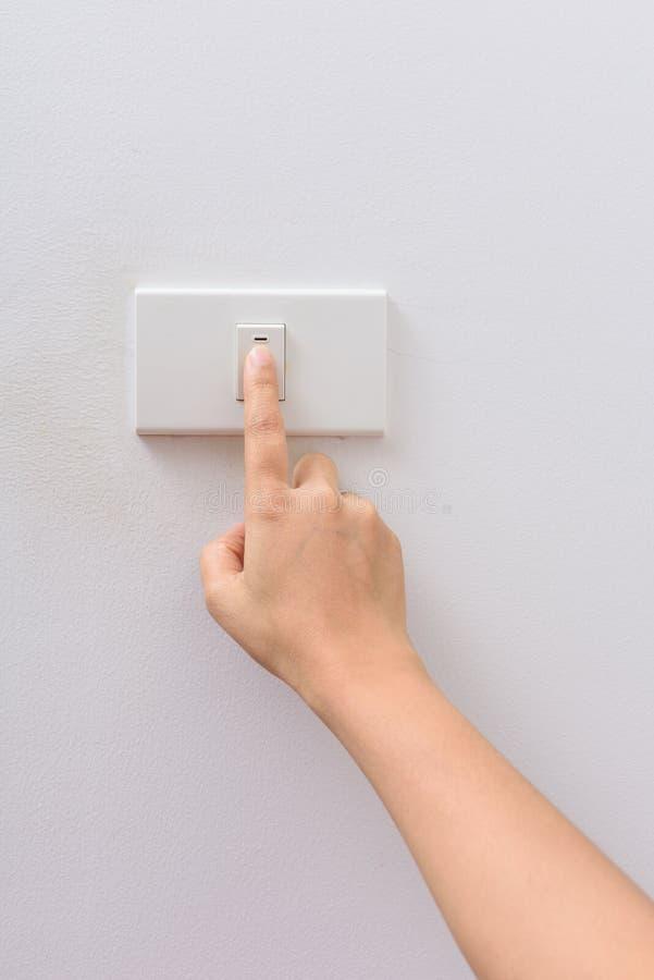 Eléctrico-interruptor con./desc. de la vuelta de la prensa del finger fotografía de archivo